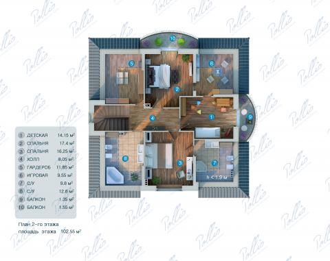 Планировка мансарды / 2го этажа X2