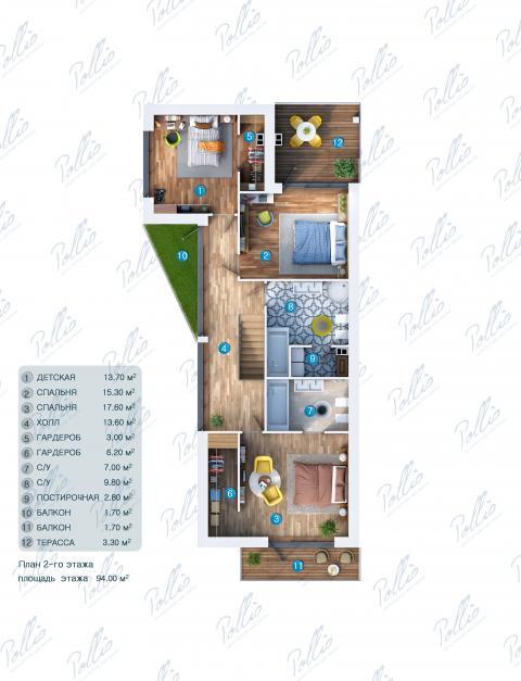 Планировка мансарды / 2го этажа X11