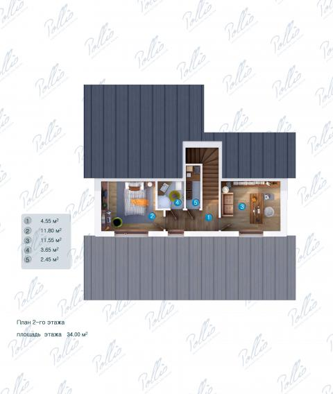 Планировка мансарды / 2го этажа X15