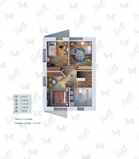 Планировка мансарды / 2го этажа P1