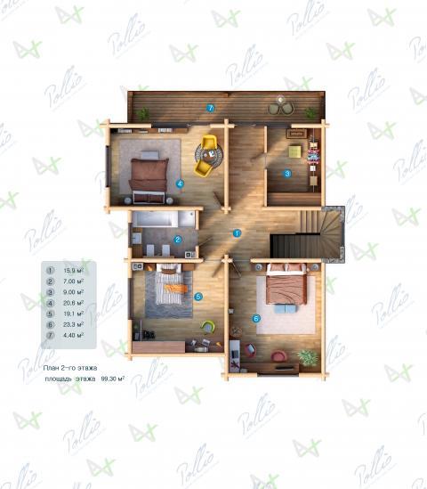 Планировка мансарды / 2го этажа X17