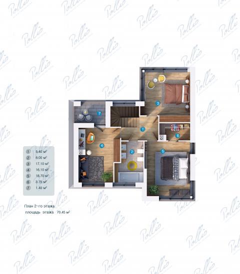 Планировка мансарды / 2го этажа X18