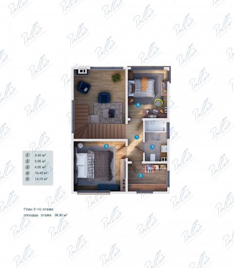 Планировка мансарды / 2го этажа X19