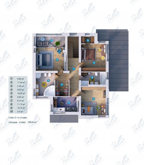 Планировка мансарды / 2го этажа X22