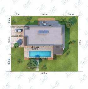 Расположение дома на участке X23