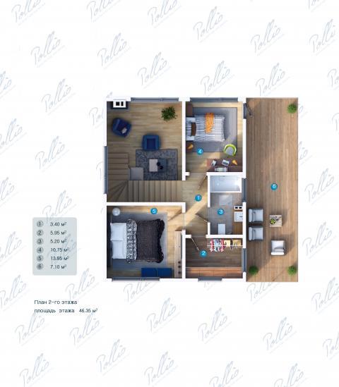 Планировка мансарды / 2го этажа X19 A