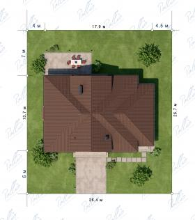Расположение дома на участке X1 A