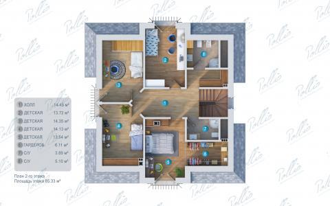 Планировка мансарды / 2го этажа X2a