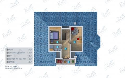 Планировка мансарды / 2го этажа X1b