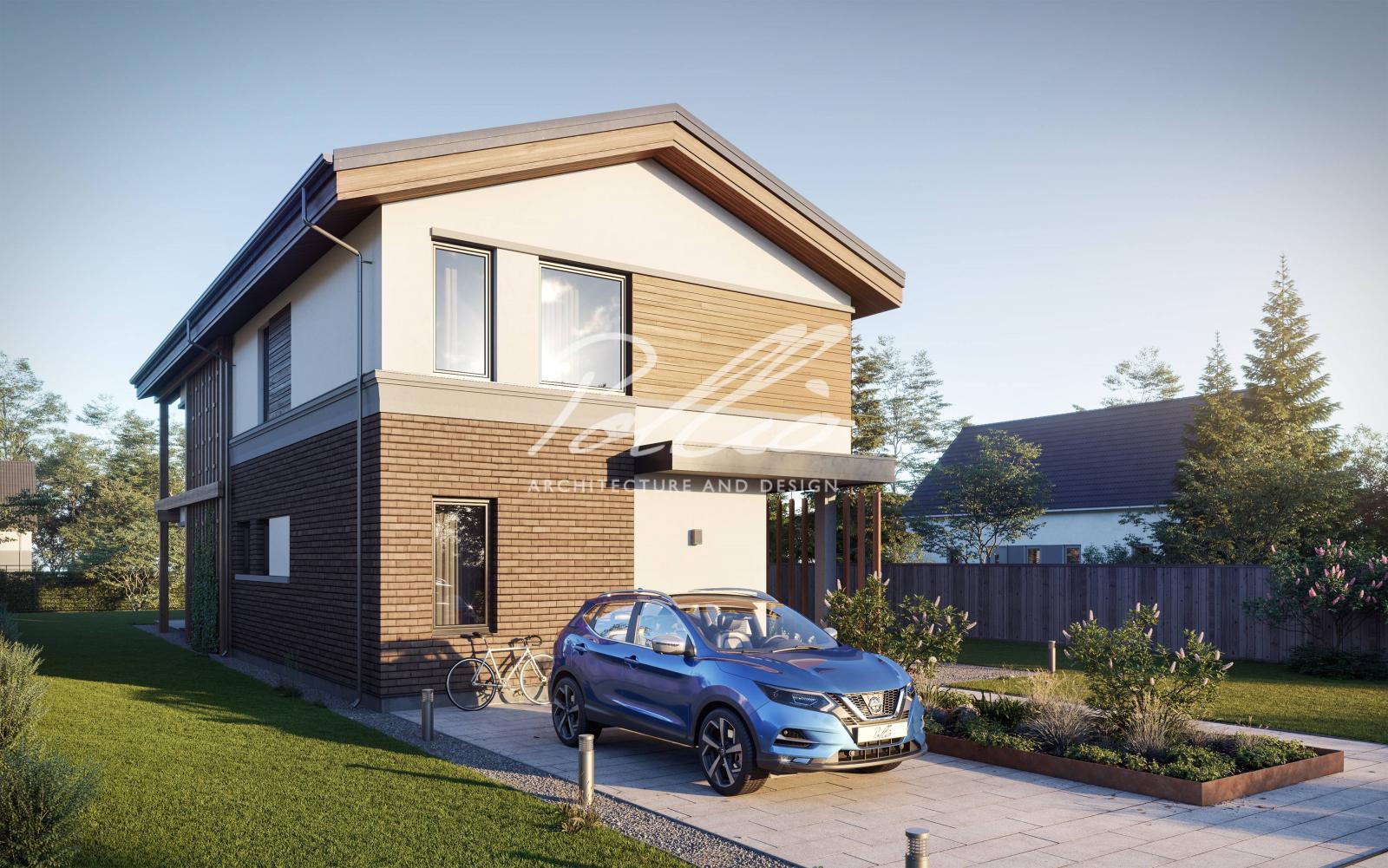 X25 Современный проект дома для узкого участка фото 2