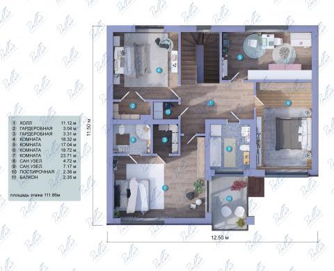 Планировка мансарды / 2го этажа X4a