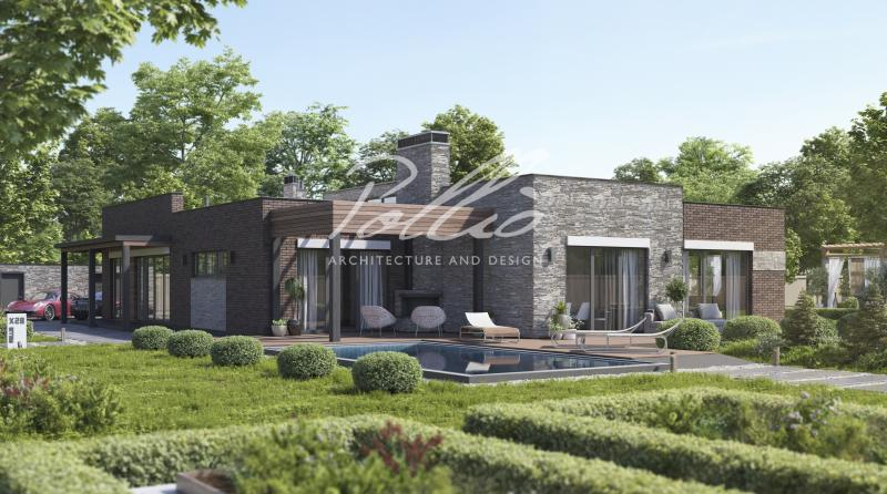 X28. Проект одноэтажного дома с плоской кровлей