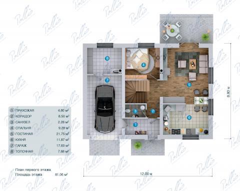 Планировка первого этажа X34