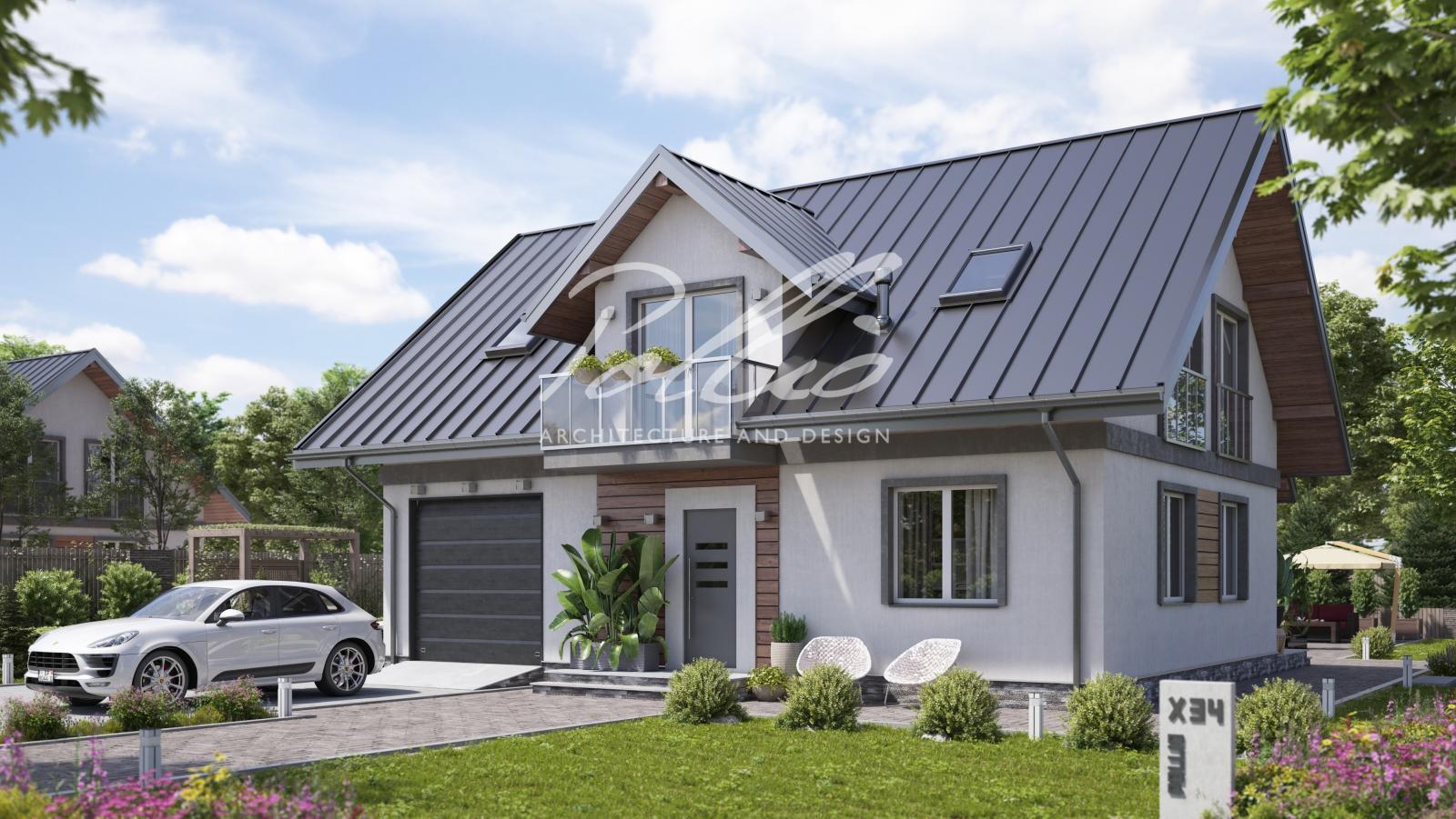 X34 Стильный мансардный дом фото 1